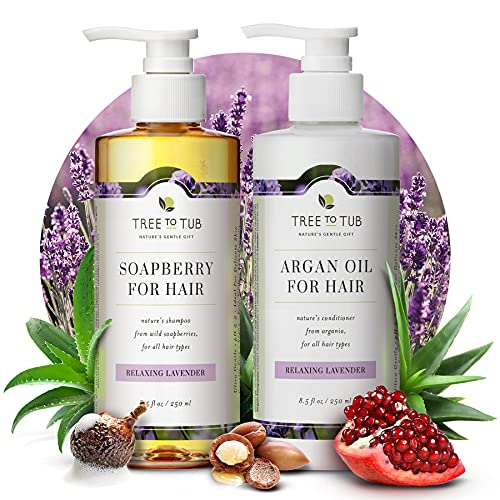 Gentle Argan Oil Shampoo & Conditioner by Tree to Tub—pH 5.5 Balanced Moisturizing Duo with Wild Soapberry & Moroccan Oil – Sulfate Free (2 Pack)