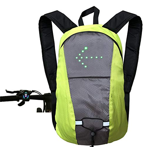 ZCVB LED Turn Signal Light Backpack for Night Cycling USB Safety Reflective Vest Sport Outdoor Waterproof Daypack Continuous Use for 12-15 Hours,Green