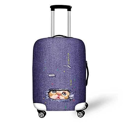 HUGS IDEA Cats Pattern Washable Thick Suitcase Protector Anti-Scratch Dustproof Luggage Cover for 26/28/30 Inch