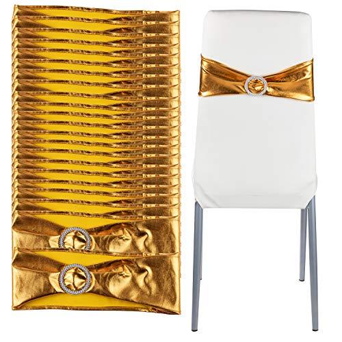 Juvale - Juego de 100 Lazos para sillas, diseño de Diamantes de imitación, decoración de Banquetes, Fiesta de Novia, Suministros de Fiesta de Aniversario, 71 x 12 cm