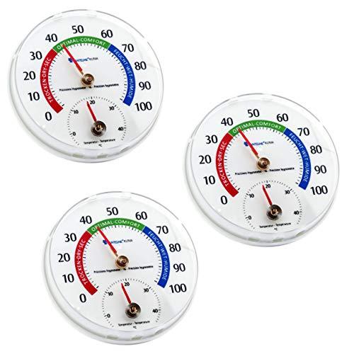 Lantelme Temperatur Luftfeuchtemesser 3 Stück Innen Zimmer Thermometer Hygrometer Set Kombigerät Analog 6577