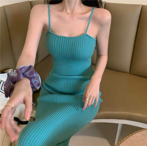 YUNCHENG Vestido de hollín de Punto Verano Femenino 2021 New Net Red Sexy Slim Bag Hip Falda Hot Chica Split Falda Larga (Color : Green)