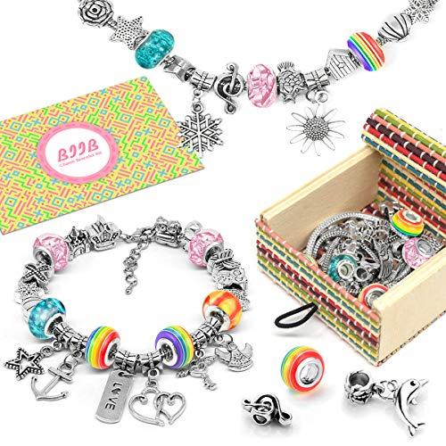 BIIB Charm Armband Kit DIY - Geschenke für Mädchen Teens, 2021 Kleine Geschenke für Kinder, Schmuck Bastelset Mädchen, Spielzeug Mädchen, Teenager Mädchen Geschenke 5-12 Jahre(3 Silber Kette)
