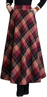 comprar comparacion Byqny Falda Larga Péndulo Grande Falda Mujer Algodón Faldas de Cuadros Alta Clásica Falda Paraguas Grueso y Cálido Falda d...