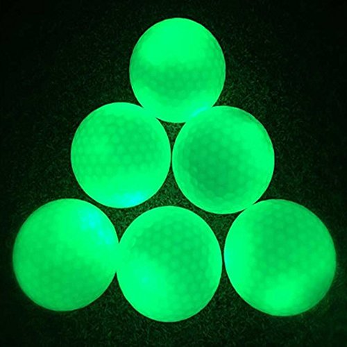 Leuchtende Golfbälle, 6 Stück Golf Übungsbälle, LED Leuchte Golf, Elektronische LED Leuchtgolfbälle für Nachttraining Mit Großer Reichweite und Distanzschüssen (Blaulicht) (Grünes Licht)