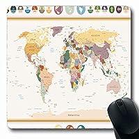 マウスパッド長方形7.9x9.8インチセット国政治世界地図地球フラットグローブヴィンテージファイナンス名オールドアトラスUSAシティロシア滑り止めラバーマウスパッドオフィスコンピュータラップトップゲームマット