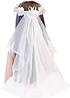 Apregies گل دختران کاتولیک مذهبی اولین ارتباط حجاب حجاب گل عروسی تاج گل (سفید جامد)