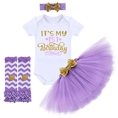 It's My 1/2 / 1st / 2nd Birthday Outfit Baby Girls Romper + Ruffle Tulle Skirt + Sequins Bow Headband + Leg Warmers Socks Party Dress up 4Pcs Photo Cake Smash Clothes Set Purple 1 Year