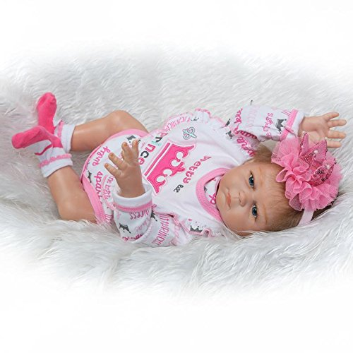 iCradle Reborn Doll 20 Pollici 50cm Realistico Full Body Silicone Vinile Baby Doll Mohair Boy Girl Twins Doll Regali di Compleanno (Girl)