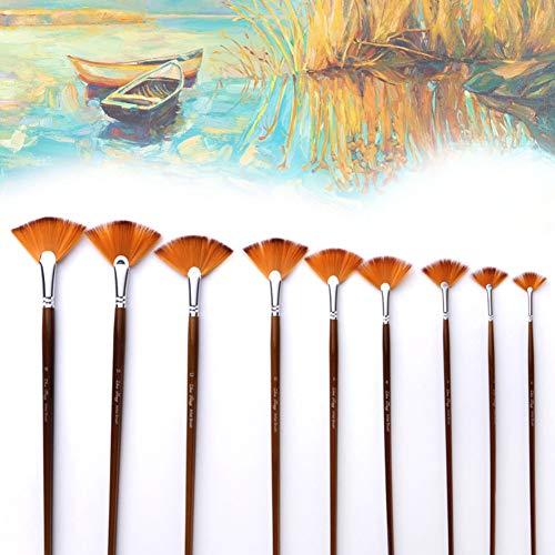 QLING - Juego de 9 Pinceles para Pintar con Forma de Abanico...