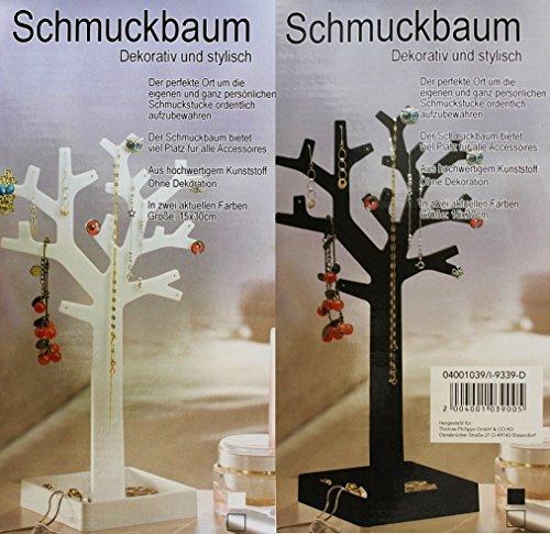 Schmuckbaum Aufbewahrung Ohrringe Schmuck Stander Schmuckhalter Ketten 15x30 cm (Weiß)
