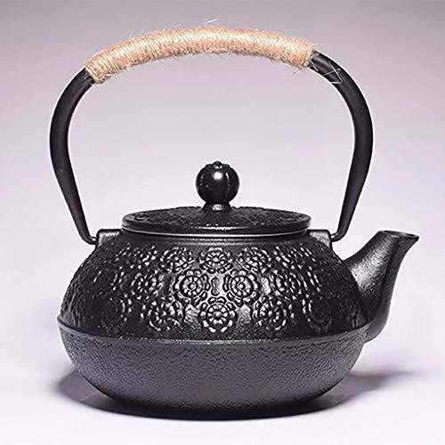 M-CH theepot van gietijzer in Japanse stijl, theepot 1,2 l, hete theeketel van gietijzer voor het warm houden van de thee, retro model met waterkoker, 10 stuks