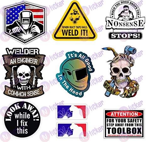 10 pcs Set Welder Hard Hat Stickers, Welding Decals for Construction, Laborer, Pipefitter, Mechanic, Toolbox, Helmet
