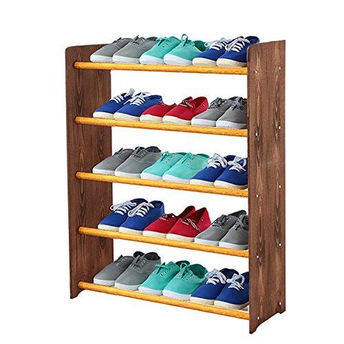 Schuhregal Schuhschrank Schuhe Schuhständer RBS-5-65 (Seiten dunkelbraun, Stangen in der Farbe erle)