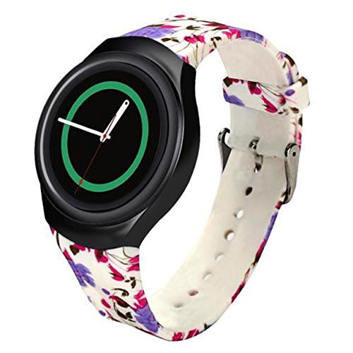 Linkshare Replacement for Samsung Gear S2 Smart Watch SM-R720 SM-R730 Soft Silicone Sport Band Version Flower