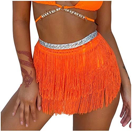 Bauchtanz Hüfttuch Kostüm Latin Dance Röcke Pailletten Quaste Fransen Outfits Rock für Damen (Orange, One Size)