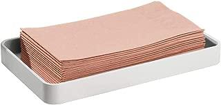 mDesign Modern Decorative Metal Guest Hand Towel Storage Organizer Tray Dispenser, Sturdy Holder for Disposable Paper Napkins - Bathroom Vanity Countertop Organization - Light Gray