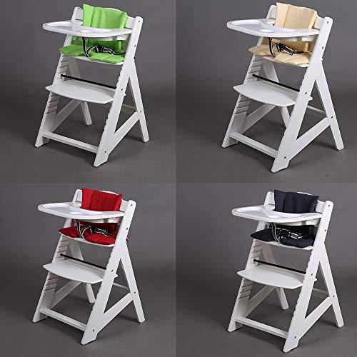Hochstuhl Treppenhochstuhl Babyhochstuhl Kinderhochstuhl Kindertreppenhochstuhl Babystuhl 65220 (Weiss-Creme)