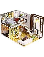 مجموعة ألعاب منزل دمى منزلية مصنوعة يدويًا من ديكديل - مجموعة ألعاب لبيت الدمى مع مجموعة الأثاث - هدية عيد الميلاد المجيد