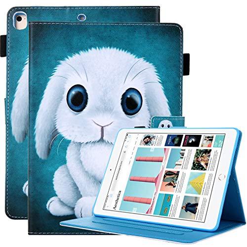 iPad 9.7 Case 2018 2017 /iPad Air 2 /iPad Air/iPad Pro 9.7 Case - USTY Premium Leather Folio Stand Smart Cover with Auto Wake/Sleep, Pencil Holder for Apple iPad 9.7' 6th/5th Generation - Cute Rabbit