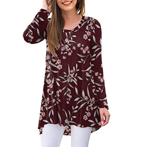 AWULIFFAN Women's Casual Long Sleeve Round Neck Loose Tunic T Shirt Blouse Tops (Flower Grass Wine Red,Small)