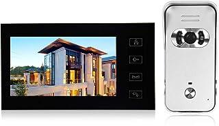 OWSOO Videoportero con Pantalla LCD de 7 Pulgadas, Intercomunicador de Vídeo, Botón Táctil, Soporte Visión Nocturna por Infrarrojos, Intercomunicador Bidireccional, Impermeable, ABS + Aleación de Zinc