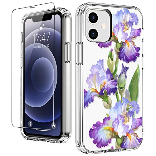 """LUHOURI for iPhone 12 Case,iPhone 12 Pro Case with Screen Protector,Fleur-de-LYS Floral Flower Designs on Crystal Clear Cover for Women Girls,Protective Phone Case for iPhone 12/12 Pro 6.1"""""""