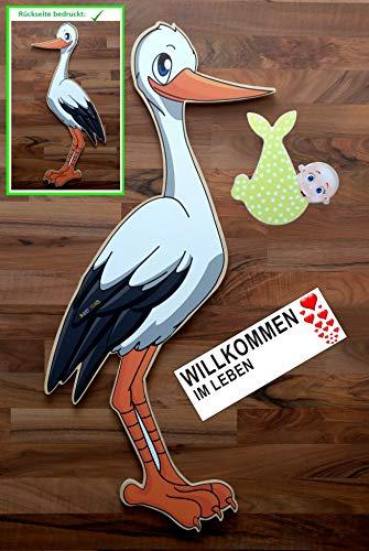 SET - 95 cm Babystorch aus HOLZ & Baby NEUTRAL & Beschriftungstafel für draußen Geburt Storch-Holz Klapperstorch Holzstorch GELB (ZWEISEITIG bedruckt, 95x45 cm)