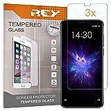 REY 3X Protector de Pantalla para MEIZU Note 8, Cristal Vidrio Templado Premium