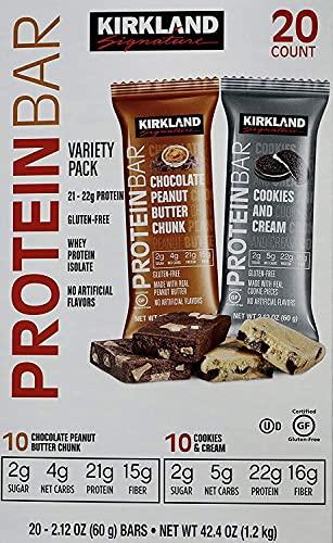 Kirkland Signature Protein Bars Chocolate Peanut Butter Chunk/ Cookies & Cream Flavor 20 X 2.12 Oz Net Wt, 42.4 Ounce (Pack of 1)