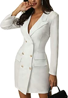 Womens Long Sleeve Bodycon Pocket Solid Double-Breasted Overcoat Dress