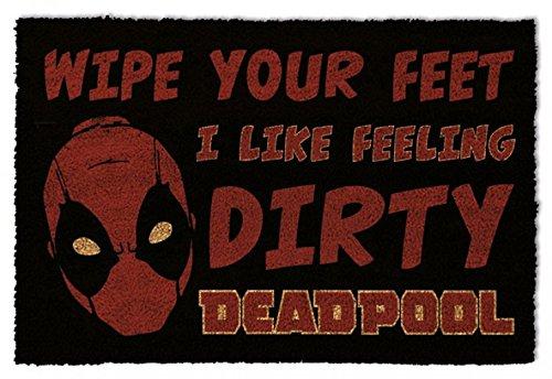 1art1 Deadpool - Dirty | Fußmatte Innenbereich und Außenbereich | Design Türmatte 60 x 40 cm