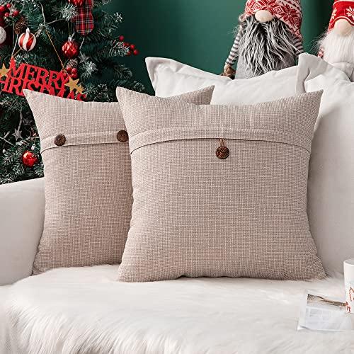 Miulee poszewki na poduszki z guzikiem, z materiału o wyglądzie lnu, kwadratowe, z wzorem krzyżowym, dekoracyjna poszewka na poduszkę do domu, na sofę, krzesło, kanapę, do sypialni, kremowe 20 x 20 cali, 50 cm x 50 cm