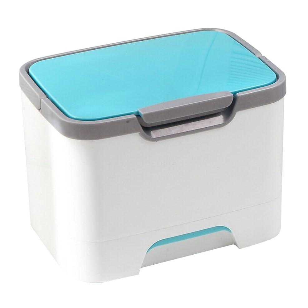 WINOMO 多機能 救急箱 薬箱 化粧箱 メイクケース 化粧品 薬品 収納ケース 小物入れ ハンドル付き ブルー プラスチック
