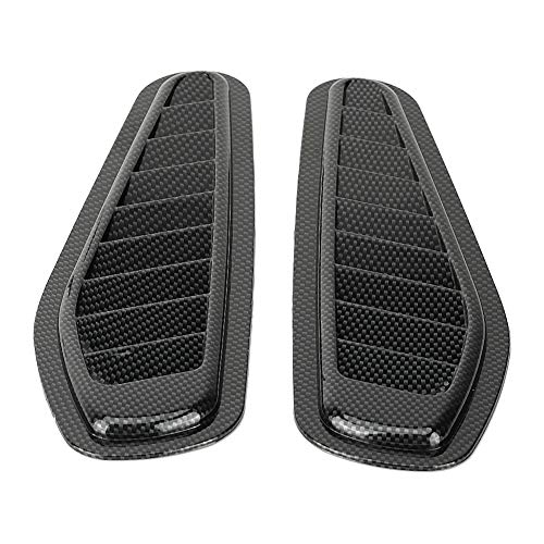 Car Air Flow Intake Cover, Fydun Car Air Flow Intake Decorative Scoop Bonnet Vent Hood Cover Universal Carbon Fiber Style Auto Car Decorative Hood Scoop 2pcs