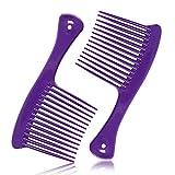 2 Pack Wide Tooth Comb, Hair Detangler Salon Shampoo...