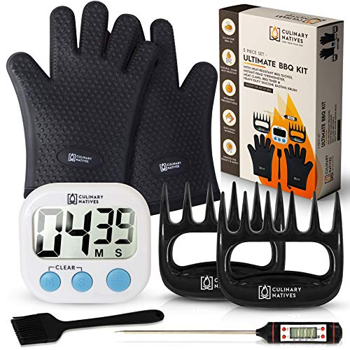 Culinary Natives | BBQ Gloves, Pulled Pork Shredder Claws, Meat Thermometer, Timer | Quilted Gloves (with Heat-Resistant Cotton) | No.1 Grilling/Smoker Accessories with BBQ Tools (7 Pcs Set)