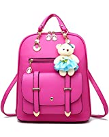 Backpack Purse for Women Large Capacity Leather Shoulder Bags Cute Mini Backpack for Girls,Rose red