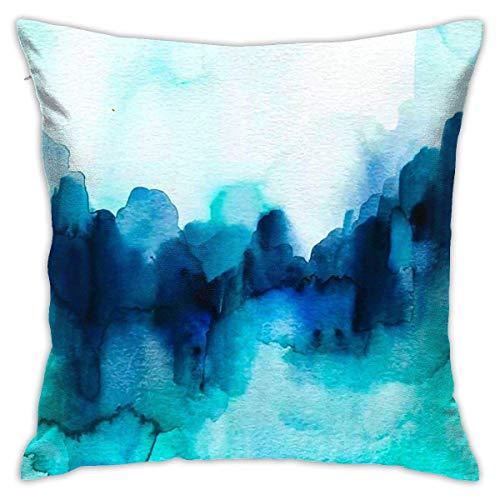 Fundas para cojines Minimalismo Tie Dyeing Maravilloso Blues Resumen Acuarela Cuadrado Funda de cojín con impresión clásica de algodón suave y poliéster