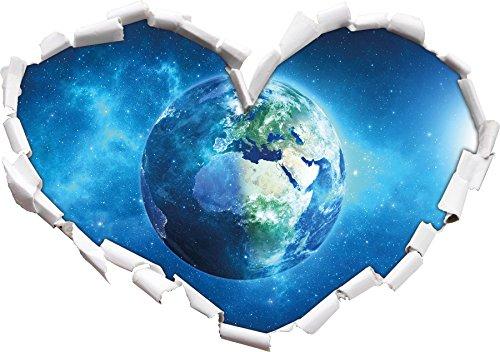 Terre en Forme de Coeur de l'univers dans Le Regard 3D, Mur ou Un Autocollant de Porte Format: 62x43.5cm, Stickers muraux, Stickers muraux, Décoration Murale