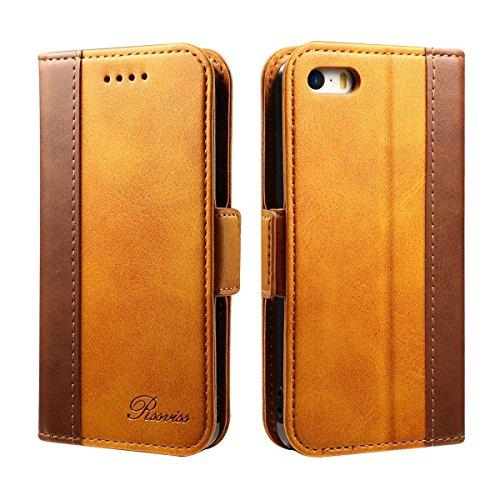 Rssviss iPhone 5 Hülle, Premium iPhone 5s Handyhülle [Kartenfächer] iPhone 5se Hülle Lederhülle [Handy Ständer] mit [Magnetverschluss] für iPhone 5/5s/se, 4.0 Zoll, Braun (W3)
