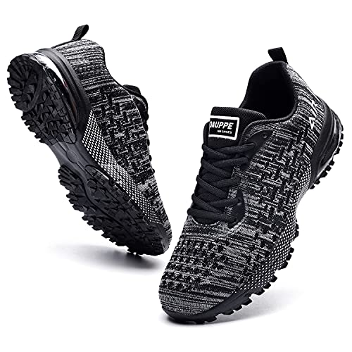 M MAGPER Zapatillas de correr de aire transpirables para hombre, ligeras, para gimnasio, tenis atlético, tenis para caminar (7-12.5 D(M)), negro 02, 44.5 EU