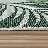 Paco Home Outdoor Teppich Terrasse u. Balkon, Küchenteppich Im Modernen Greenery Boho Look, Grösse:100x200 cm, Farbe:Grün - 3
