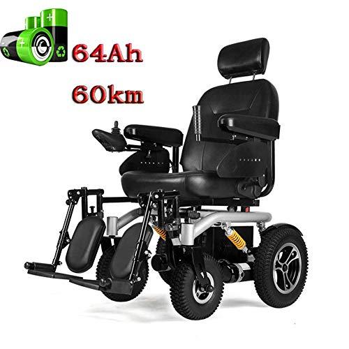 lqgpsx Elektrischer Rollstuhl Automatischer intelligenter Hochleistungs-komfortabler Rollstuhl mit Verstellbarer Rückenlehne für Erwachsene 4-Rad-Offroad-Roller, 320 W * 2 Motor