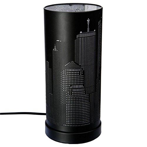 Lampe new york Tactile cylindrique Argent/Noir