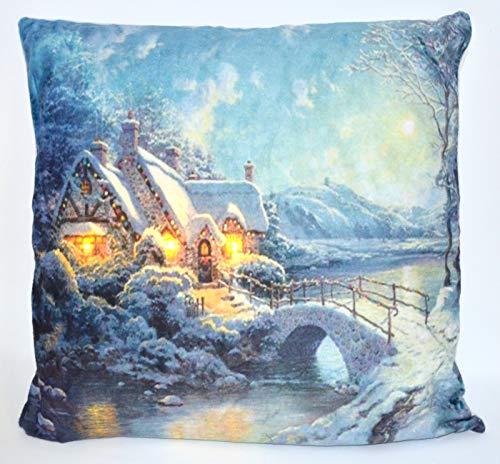 Jürgen Schleiß Konfektion LED Kissen m.Füllung Beleuchtung Timer Weihnachten Winter Haus/Couchkissen Dekokissen Sofakissen/100% PES