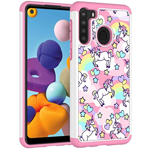 Samsung A21 Case, Galaxy A21 Phone Cover - Rainbow Unicorn Pattern Shock-Absorption Hard PC and Inner Silicone Hybrid Dual Layer Armor Defender Protective Case for Samsung Galaxy A21