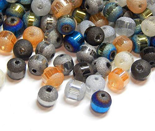 200 Stück Glasperlen Galvanisierte 6mm Runde Matt perlen mit Silber plattiert Regenbogen Effekt Perle mit Loch zum auffädeln Farbauswahl (Mix Pack 200 Stück)