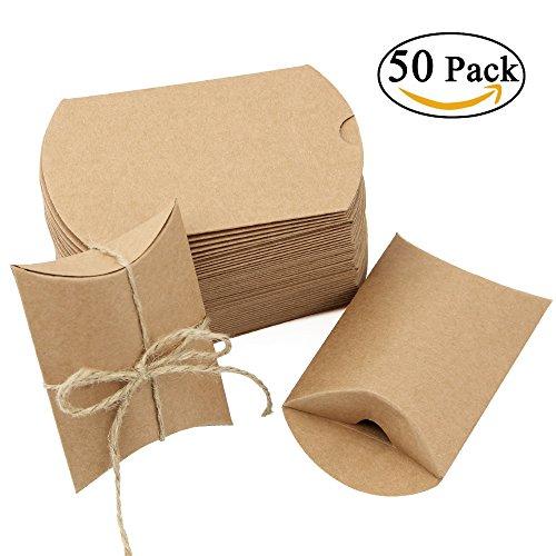 JTDEAL 50 Cajas para Regalo y 50 Cuerda de Yute(64cm), Bolsas de Regalo, Cajas de Papel Kraft Vintage, para Boda Favor Fiesta, para Regalos Pequeñitos de Boda/Cumpleaños/Fiesta - Marrón