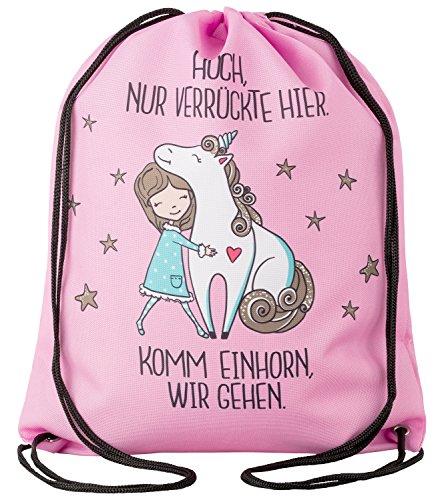 Aminata Kids Einhorn Turnbeutel für Kinder aus Nylon, reflektierend & wasserabweisend - unser Kindergarten Sportbeutel mit Unicorn-Motiv hat verstärkte Nähte und einen Brustclip